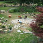 Circular natural stone patio