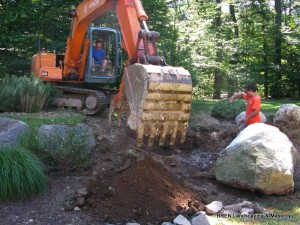 Rocky Brook, New Canaan - Dennis (in orange!) Directing boulder placement