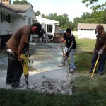 Deconstruction of thick cement patio