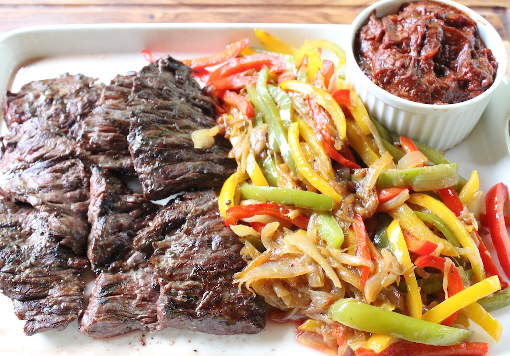 Grilled Skirt Steak with Sautéed Onions and Bell Peppers and Chunky Spicy Ketchup